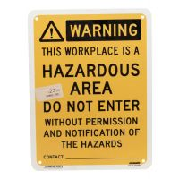 Warning Hazardous Area Sign 225 mm x 300 mm