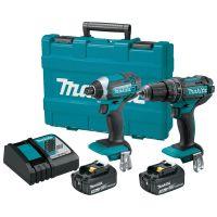 Makita Two Piece 18V Cordless Hammer Drill Driver/Impact Driver Kit